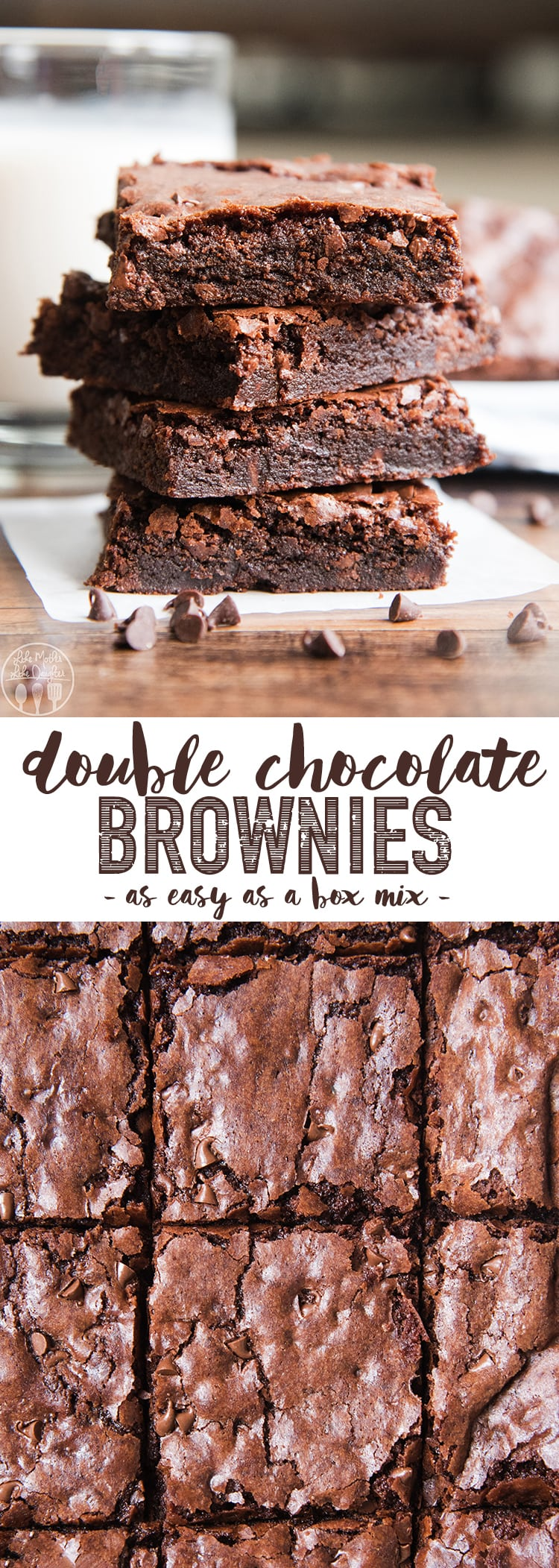 These double chocolate brownies are the best brownies you can make at home, as simple as a boxed mix, but so much better. The perfect fudgy, chewy, chocolatey brownie! #brownie #chocolate #doublechocolate #chocolatebrownie #easydessert #30minutedessert #dessert