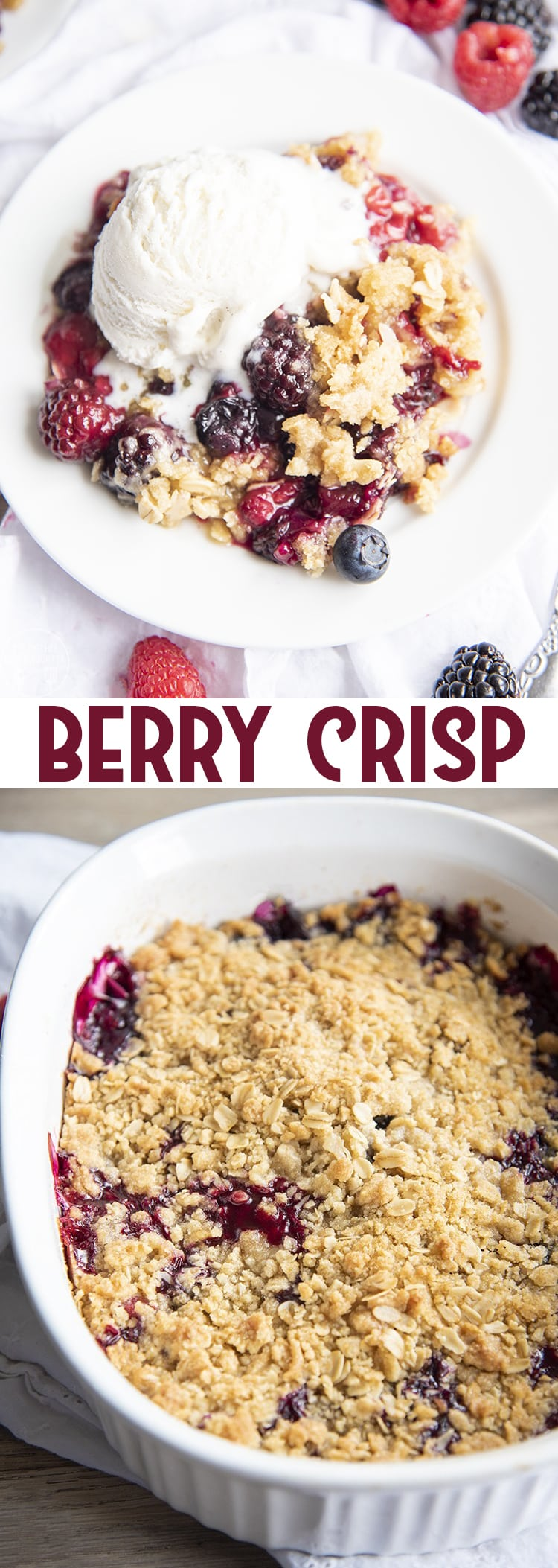 This berry crisp is the perfect summer dessert, with a fresh triple berry base topped with the best crunchy oat crumble topping. It's the best served warm with a big scoop of ice cream!