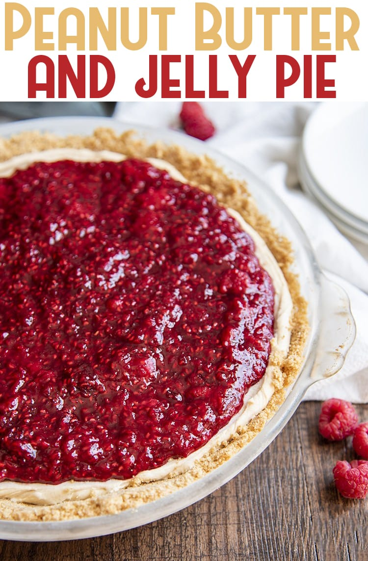 This peanut butter and jelly pie is a match made in heaven, with a creamy no bake peanut butter pie filling topped with a quick homemade raspberry jelly, this pie is a delicious combination of flavors for any occasion. #peanutbutterandjelly #peanutbutterpie #peanutbutterandjellypie