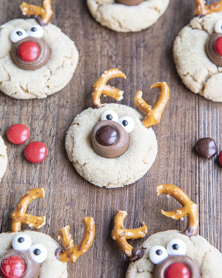 Reindeer decorated Peanut Butter Blossoms