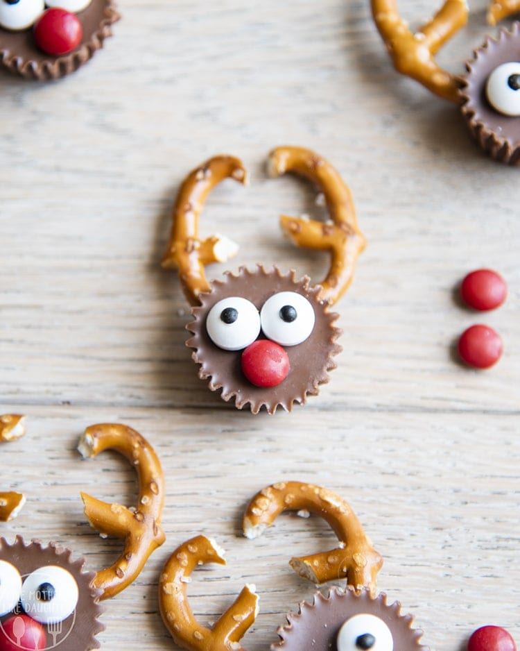 These Reindeer Reese's Cups are the cutest holiday treats! They are so easy to make, and are the perfect sweet and salty treat.