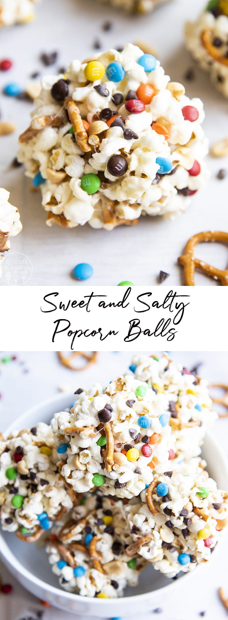 These sweet and salty popcorn balls are gooey and chewy marshmallow popcorn balls packed full of salty pretzels, peanuts, m&ms and chocolate chips for the perfect sweet and salty treat