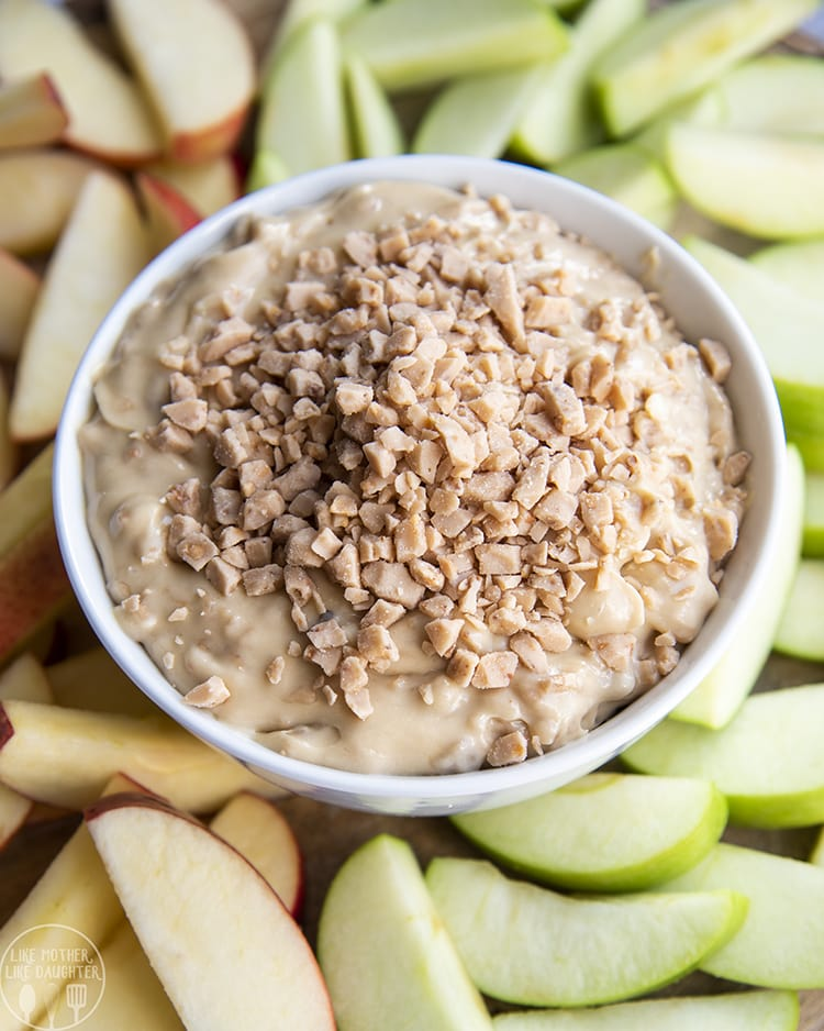 Three Ingredient Toffee Apple Dip with toffee pieces on top