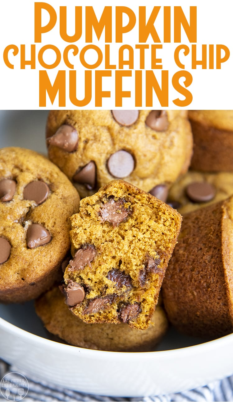 These pumpkin chocolate chip muffins are a fall favorite! Every muffin is packed full of cinnamon and pumpkin spice, chocolate chips and the best pumpkin flavor!