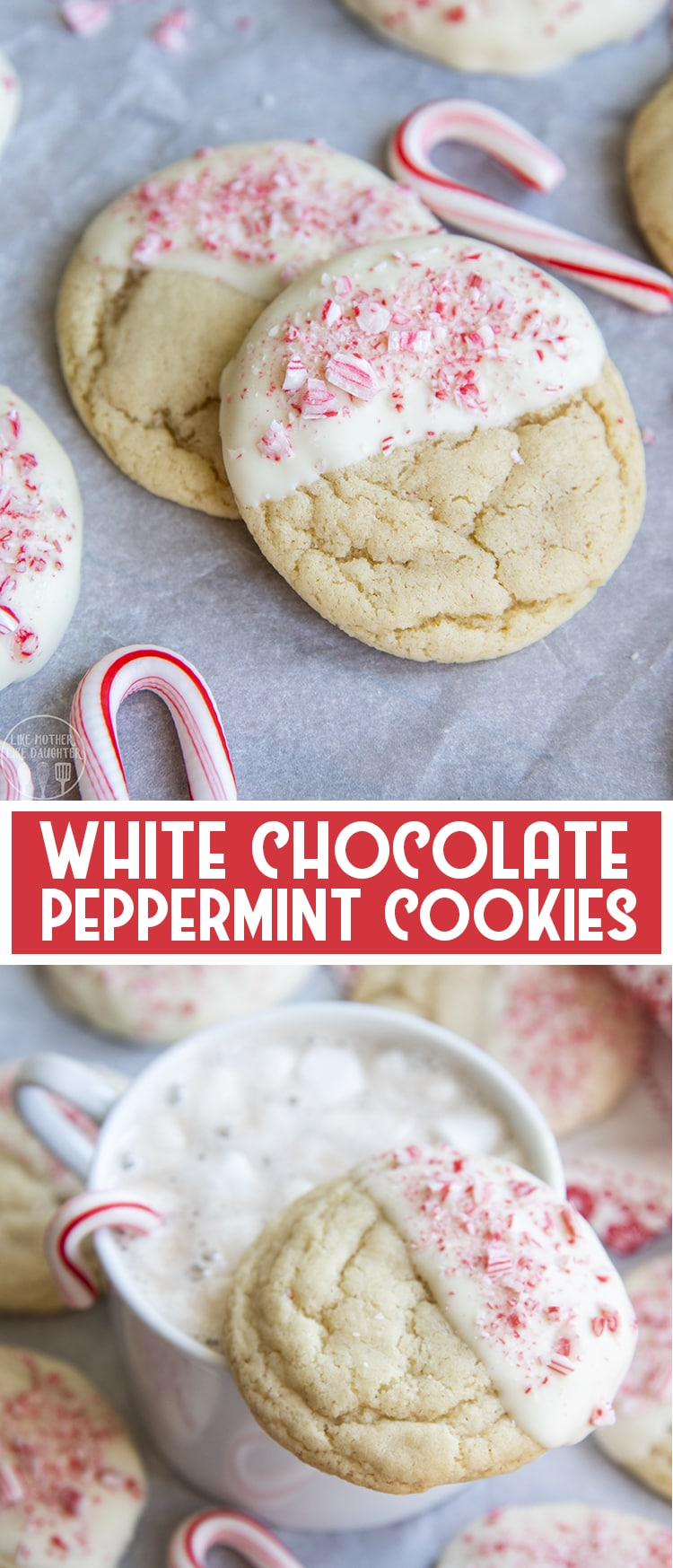 These white chocolate peppermint cookies are a soft and chewy sugar cookie dipped in white chocolate and topped with crushed peppermint candies. They're a perfect holiday cookie!
