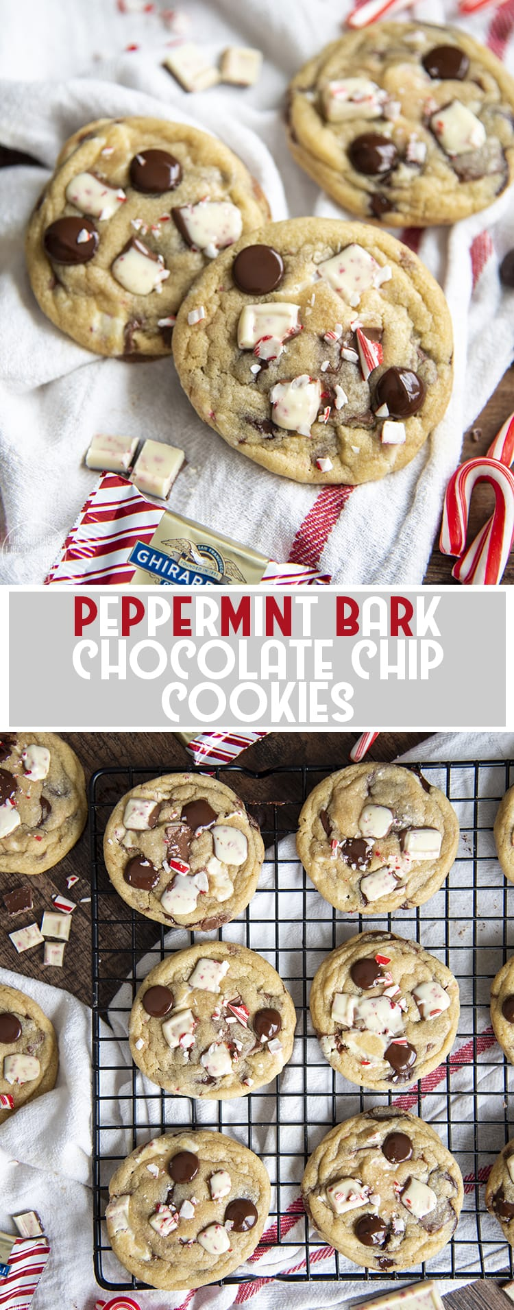 These peppermint bark chocolate chip cookies are one of the best Christmas cookies, with chopped up peppermint bark, and chocolate chips in every bite.