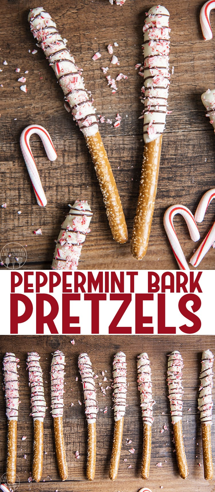 These delicious peppermint bark pretzels are a tasty sweet and salty holiday treat. With pretzel rods, coated in white chocolate, and a drizzle of chocolate, covered in crushed up candy cane pieces, for a delicious twist on peppermint bark candy.