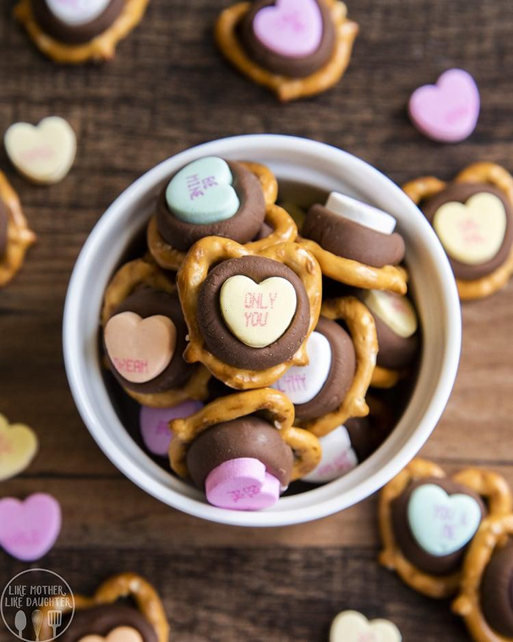 Conversation Heart Chocolate Pretzel Bites