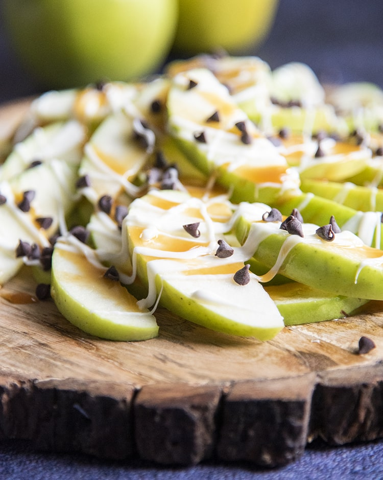 Caramel Apple Nachos with caramel sauce, white chocolate and chocolate chips
