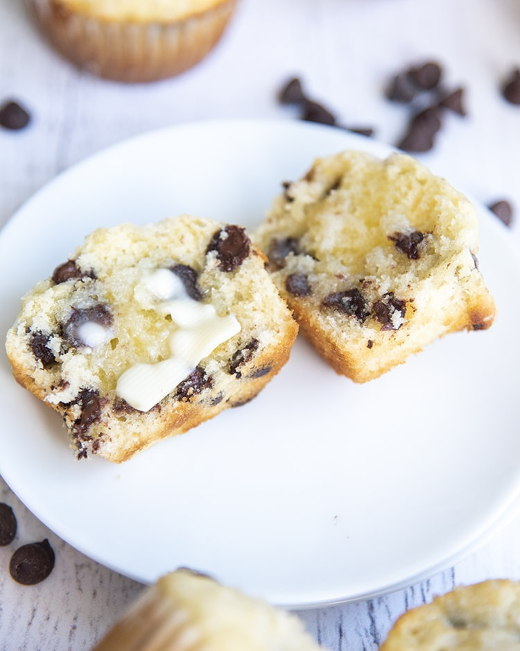 Chocolate Chip Muffin with butter