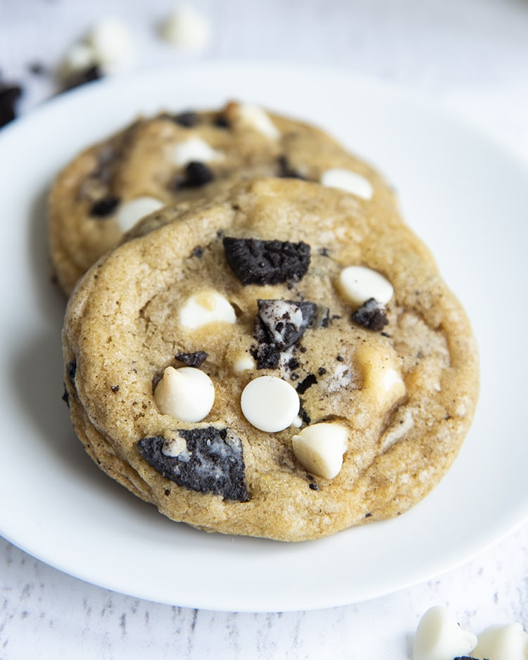 Cookies and cream cookies with white chocolate chips and oreo pieces