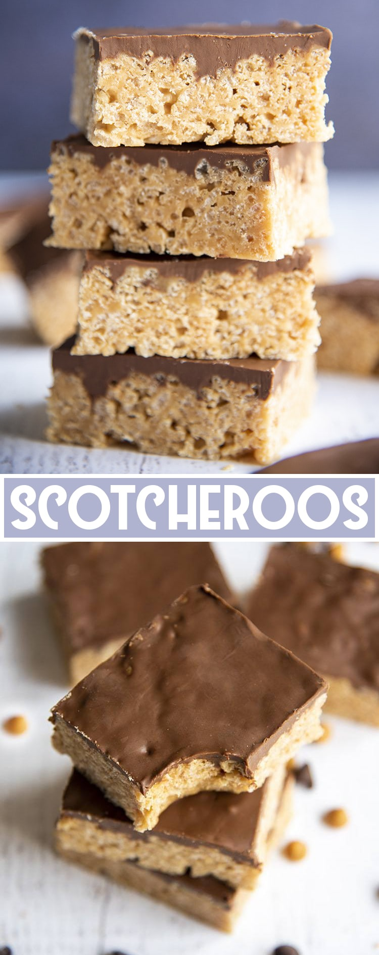 Scotcheroos are the perfect gooey and chewy no bake treat bar! With a peanut butter rice crispy treat topped with butterscotch and chocolate!