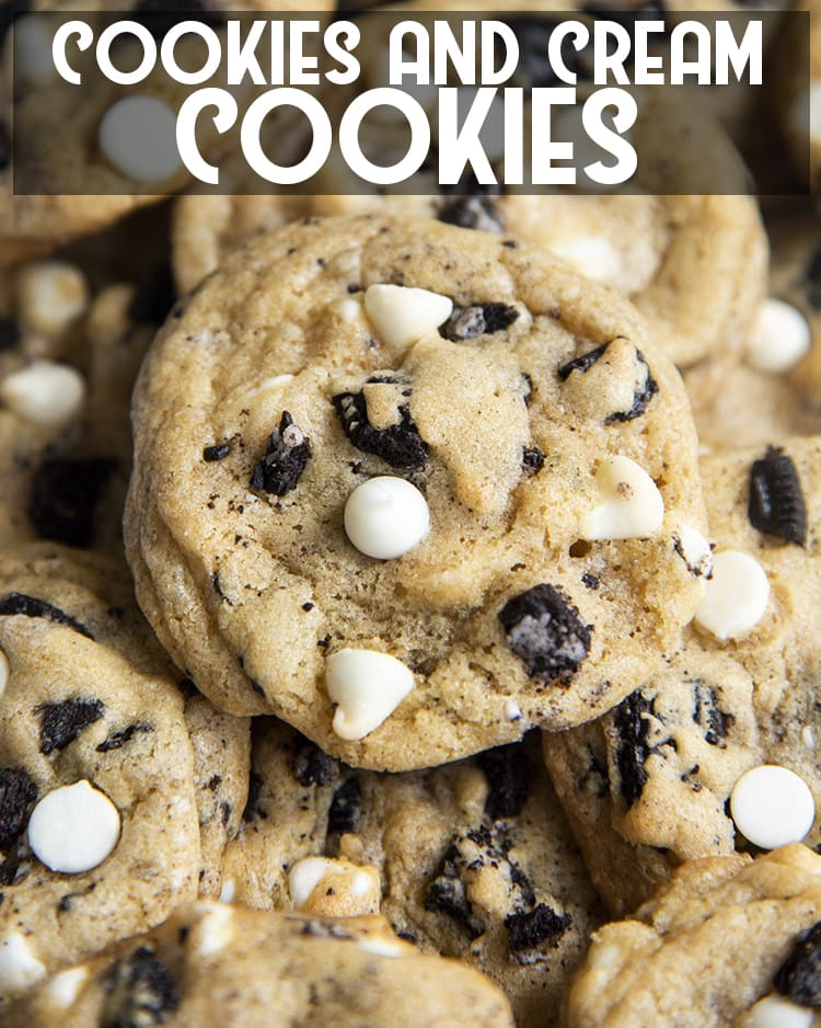 These cookies and cream cookies are packed full of chocolatey crushed Oreos and creamy white chocolate chips, all together in these delicious cookies and cream cookies.