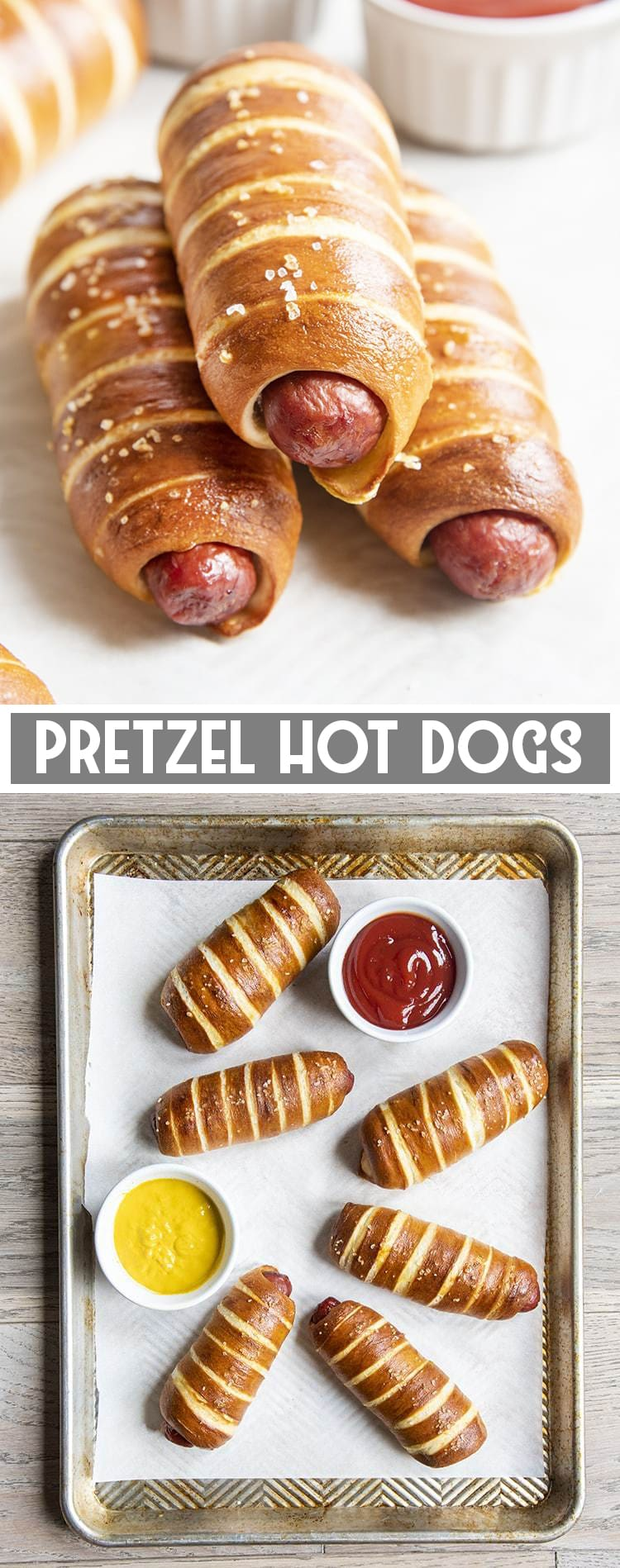 Hot dogs wrapped in pretzel bread on a tray with text overlay for pinterest