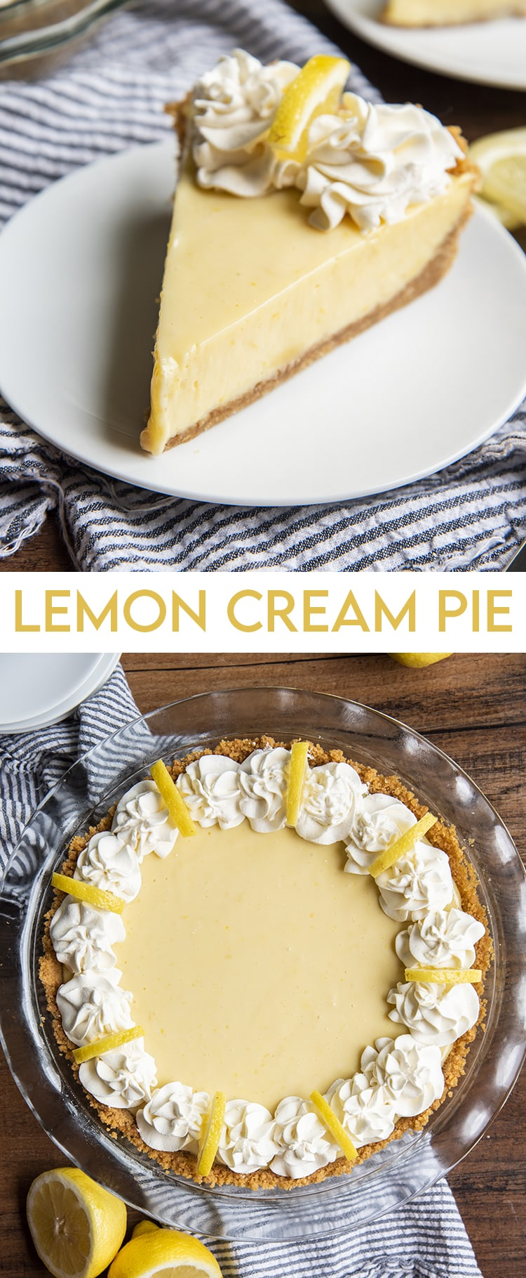 Lemon Cream Pie collage of two photos with text for pinterest