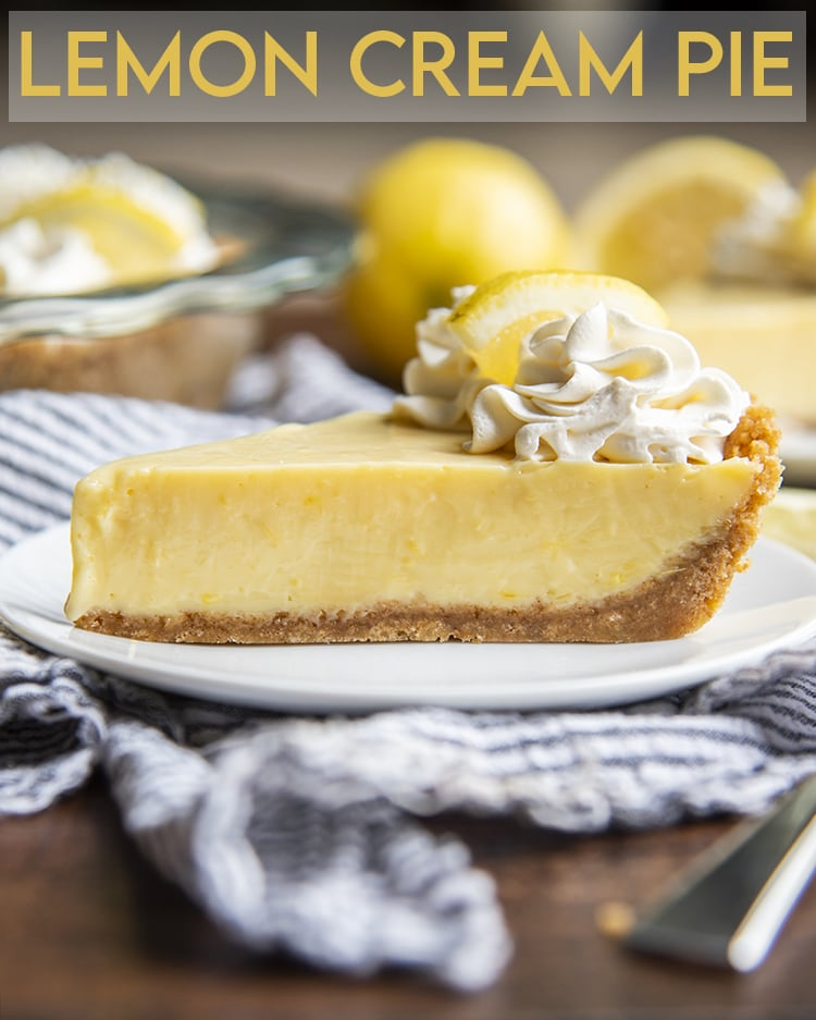 Lemon CreaA side view of lemon cream pie with graham cracker crust and whipped cream on top with text overlay for pinterest