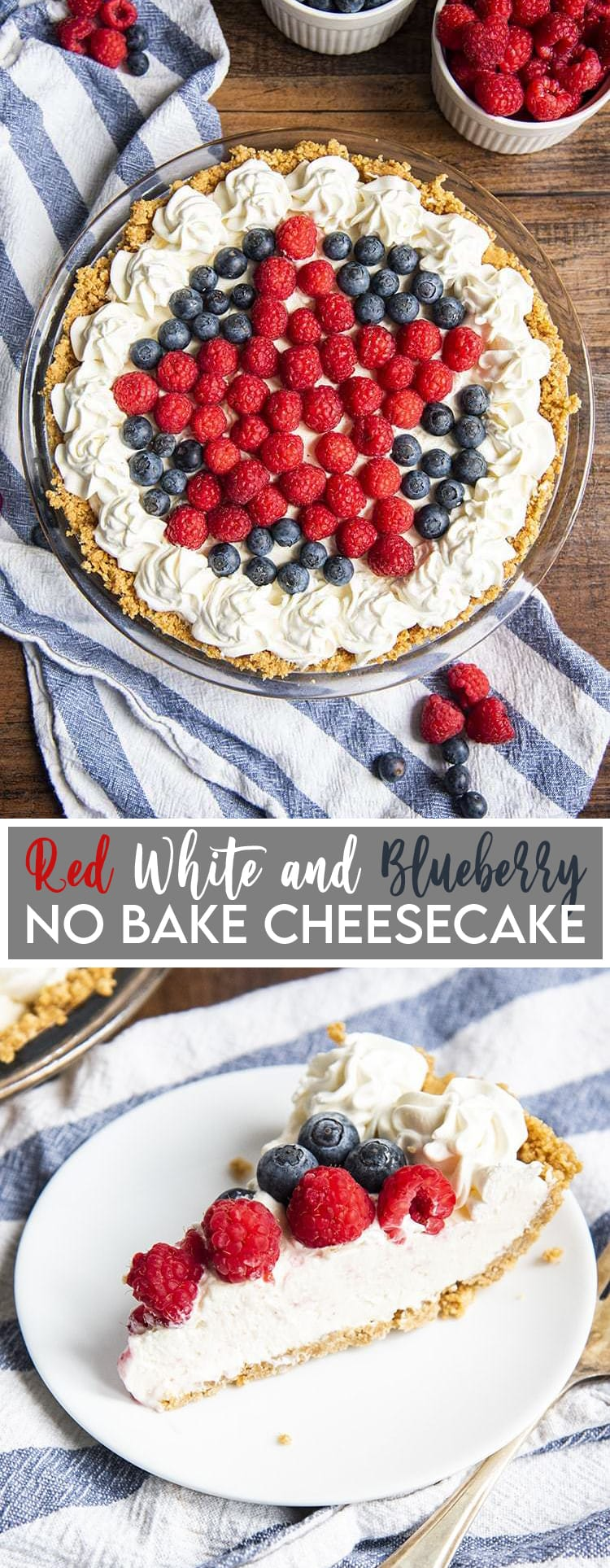 Red White and Blueberry Cheesecake with a raspberry star on top and text overlay for pinterest