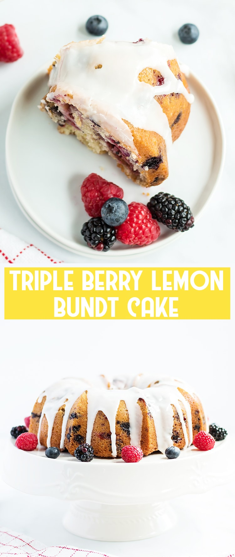 Triple Berry Lemon Bundt Cake on a white plate and another photo of the cake on a cake standwhite cake stand with text overlay for pinterest