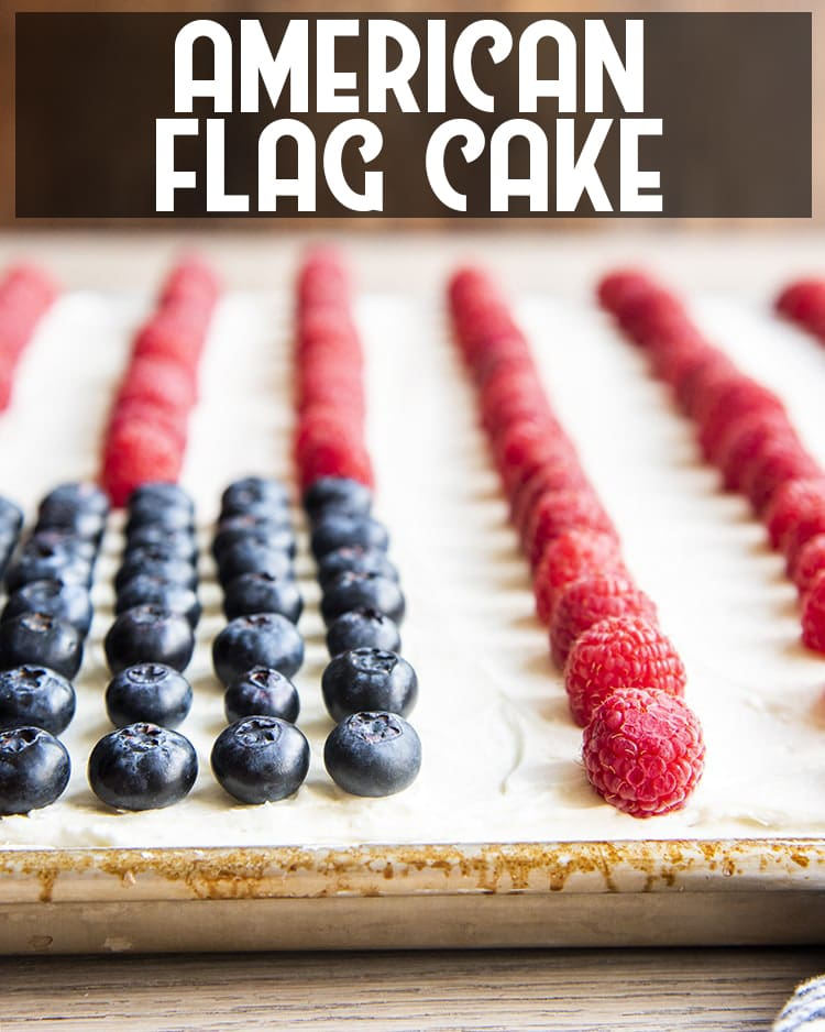 White Sheet Cake decorated with blueberries and raspberriesto look like the American flag