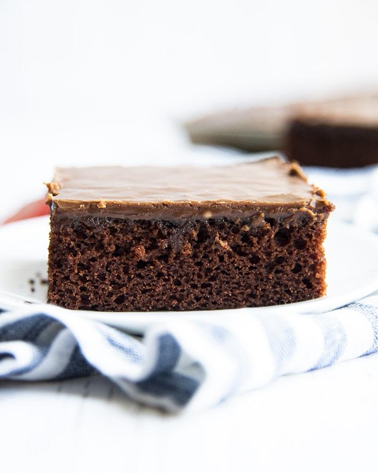Chocolate Texas Sheet Cake on a plate
