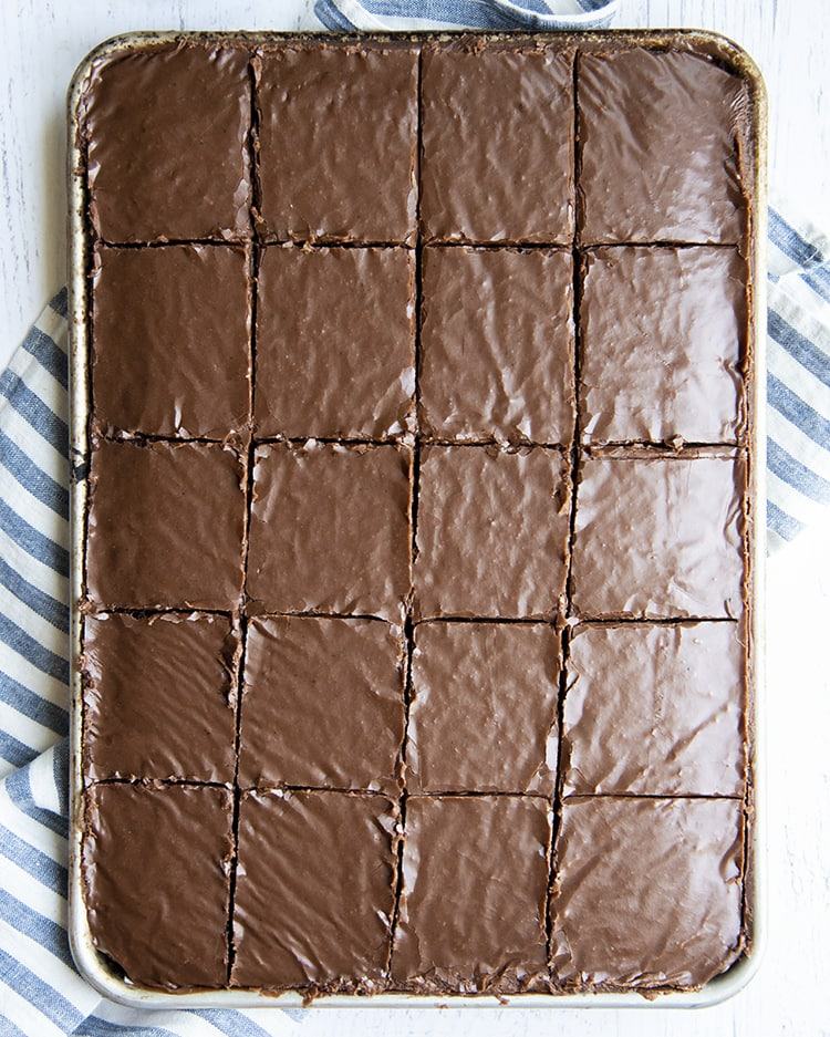 A chocolate texas sheet cake cut into 20 slices