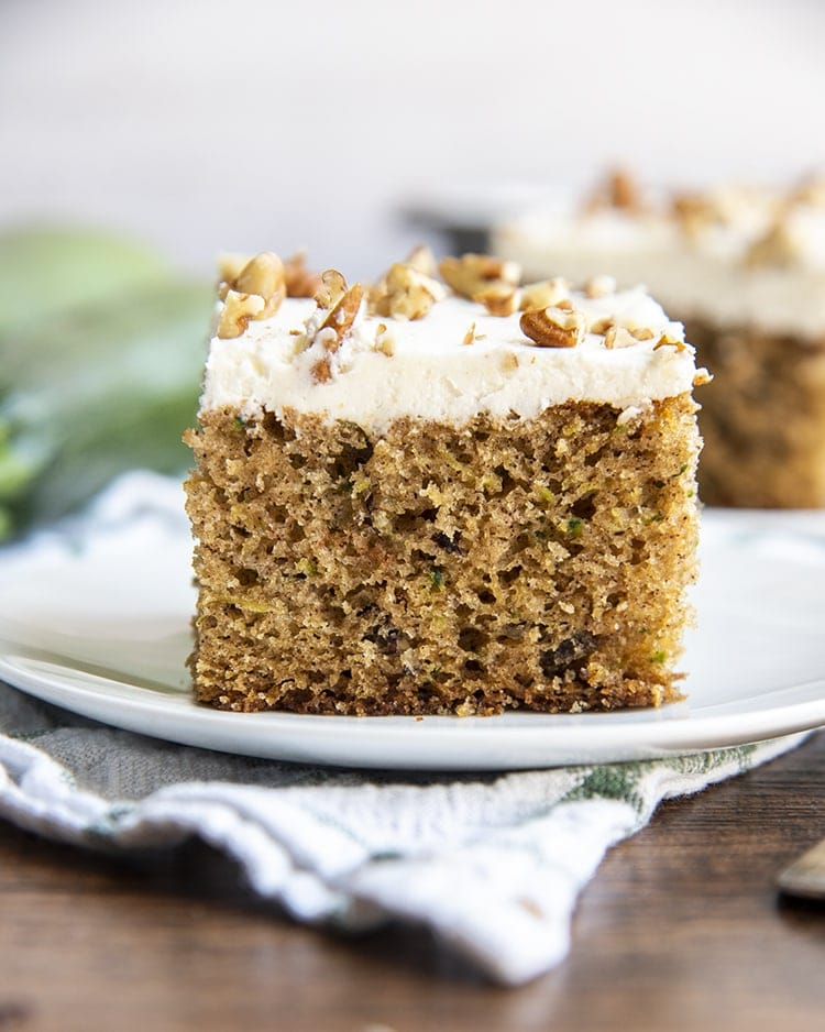 A slice of zucchini cake on a plate