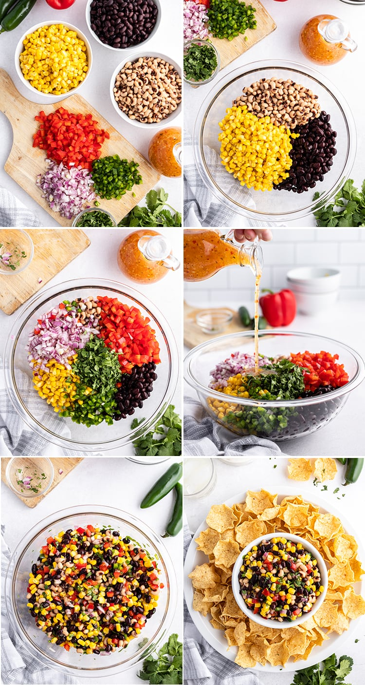 Step by step photos of how to make cowboy caviar