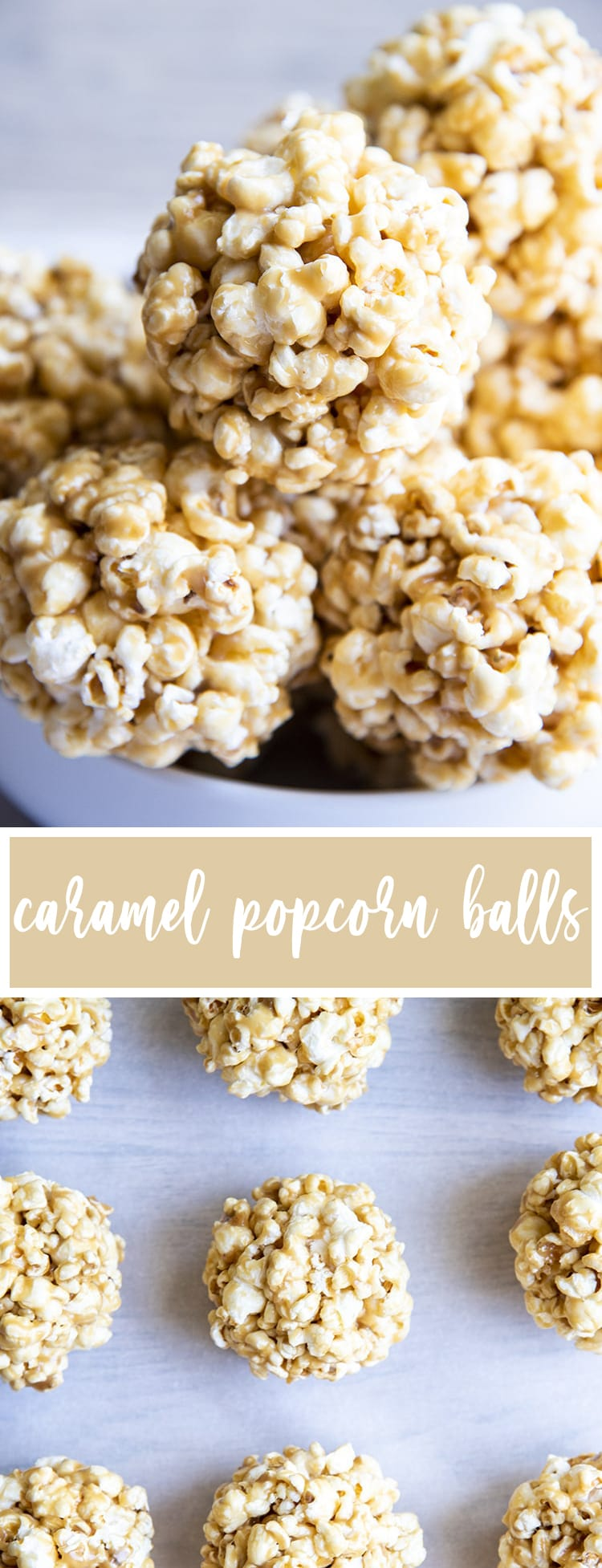 Two photos of caramel popcorn balls with text in the middle for pinterest.