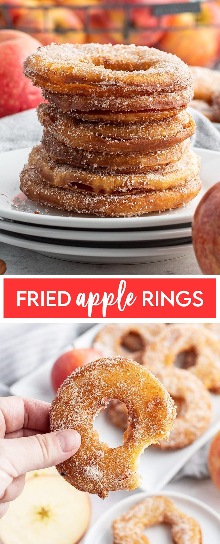 A collage of two photos of fried apple rings with text in the middle for pinterest.
