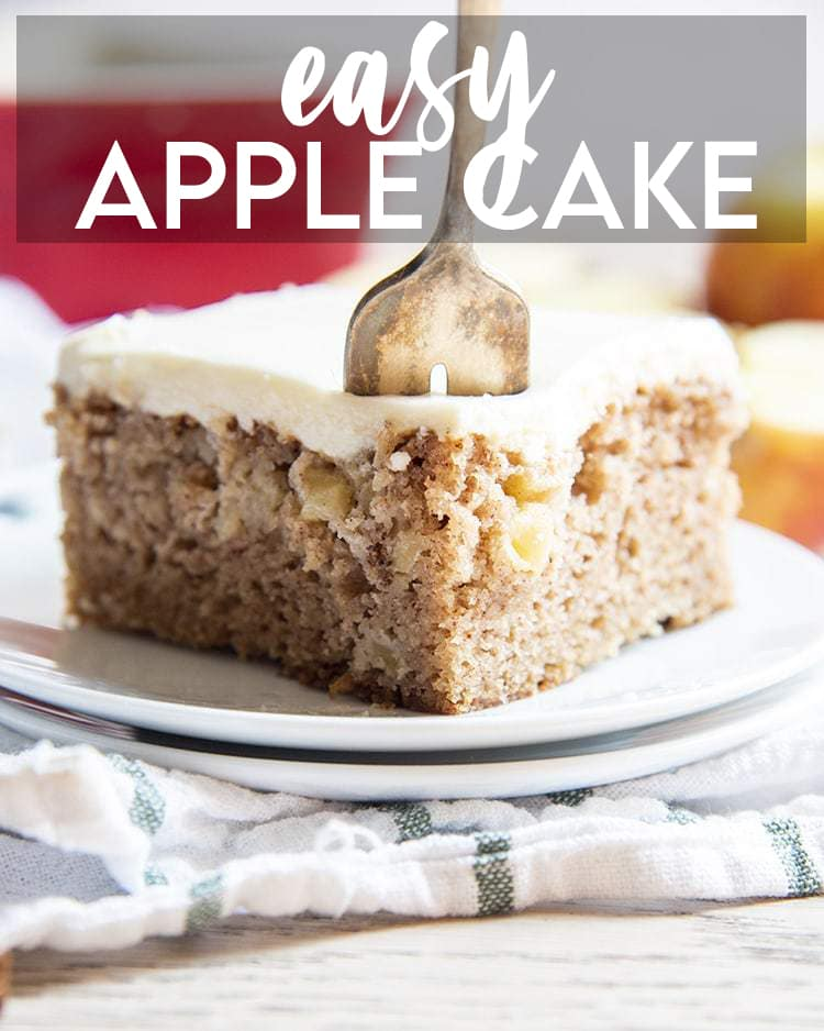 A piece of apple cake with a text overlay for pinterest.