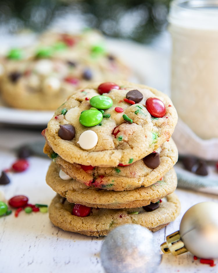 A stack of Christmas chocolate chip cookies.
