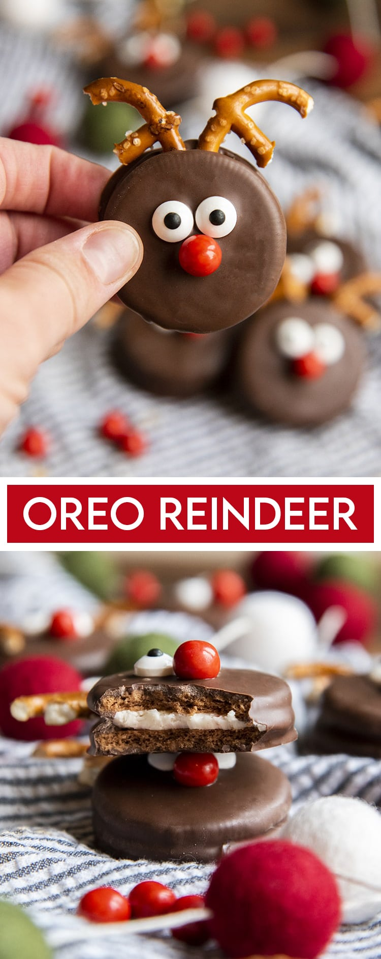 An Oreo dipped in chocolate and decorated to look like a reindeer with pretzel pieces for antlers, candy eye balls and a red sixlet nose. It'ss being held up by a hand with a text overlay at the bottom for pinterest. Then a photo below of two Oreo Reindeer stacked, and the top is bitten to show the oreo under the chocolate.