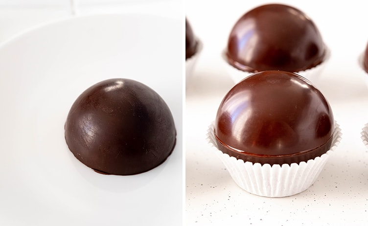 Two photos showing how to close hot chocolate bombs. The first is showing it melting on a hot plate. The second is showing the two halves placed together sitting in a cupcake liner.