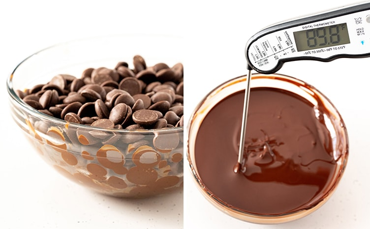 Two photos of how to temper chocolate, chocolate chips in a clear bowl, and melted chocolate with a thermometer in it showing 89.8 degrees F.