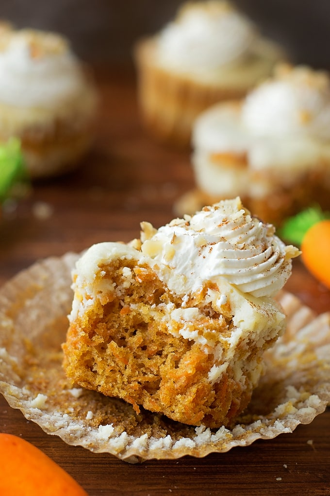 A carrot cake cupcake with a swirl of cheesecake on top, and topped with a swirl of whipped cream.