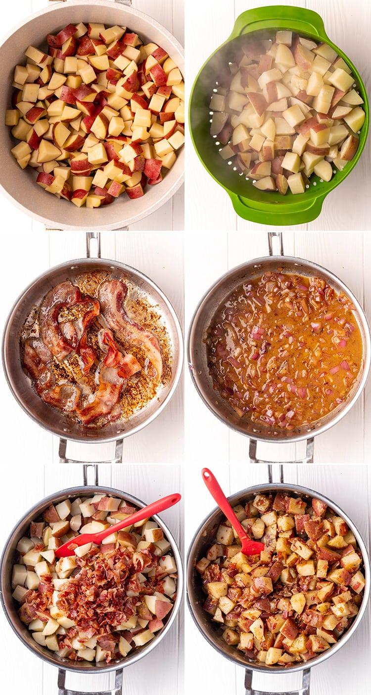 Six step by step photos showing how to make German potato salad. Showing the potatoes in a pot, then the potatoes being drained in a green colander. Then the bacon being cooked. Then the red onion being cooked in the bacon grease. Then the potatoes and bacon being added back in. Then the salad all mixed in the pot.