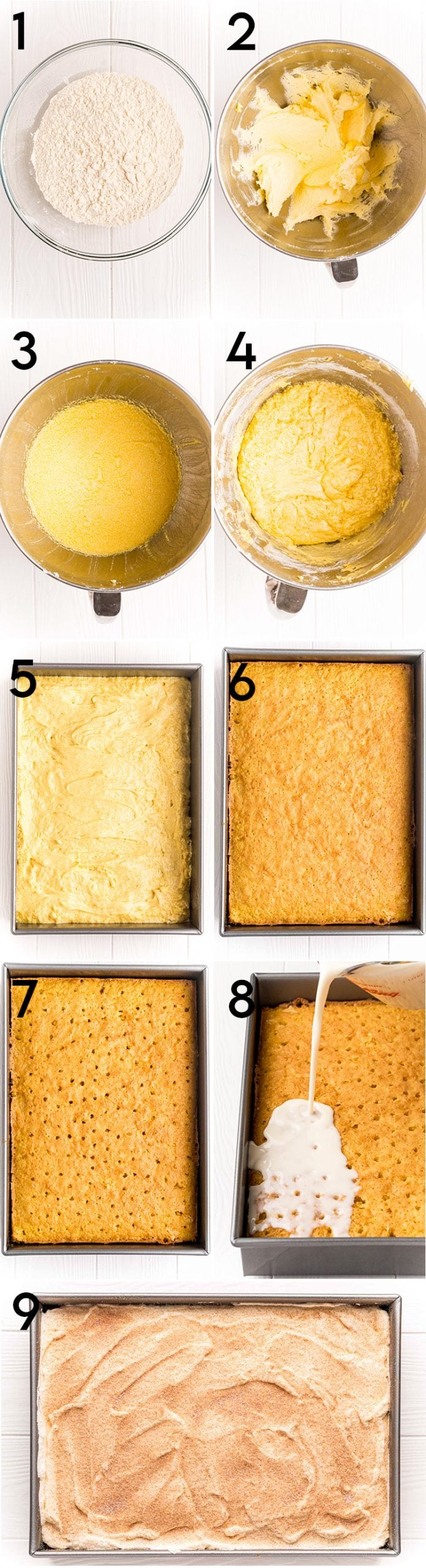 A collage of 9 step by step photos showing how to make tres leches cake, sifting the flour, creaming the butter, adding the eggs, adding the flour, pouring the batter into the pan, baking the cake, poking the top of the cake, pouring the milk over the top, adding the whipped cream.