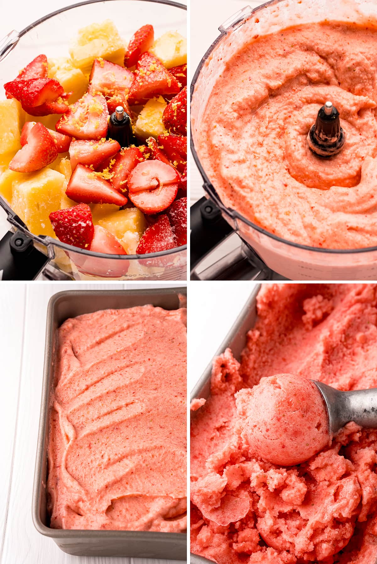Step by step photos showing how to make strawberry sorbet in a food processor. The frozen strawberries and pineapple are blended together, then put in a pan, and frozen, then scoop.