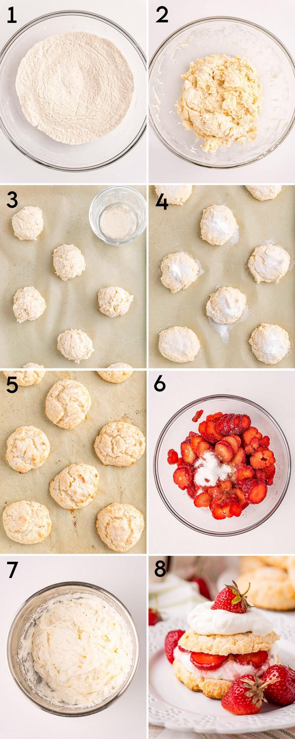 A collage of 8 step by step photos showing how to make strawberry shortcakes.