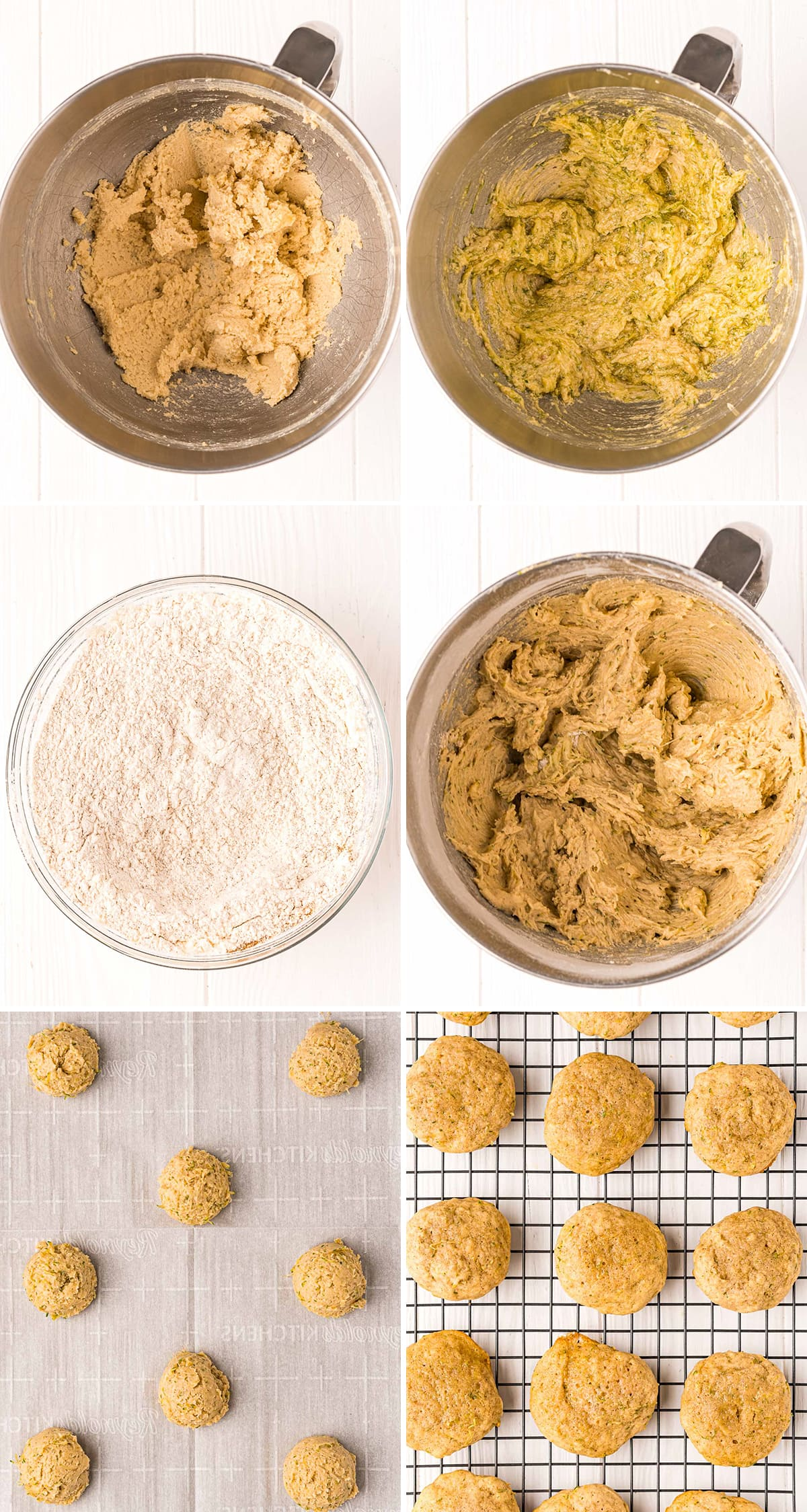 Step by step photos showing how to make zucchini cookies.