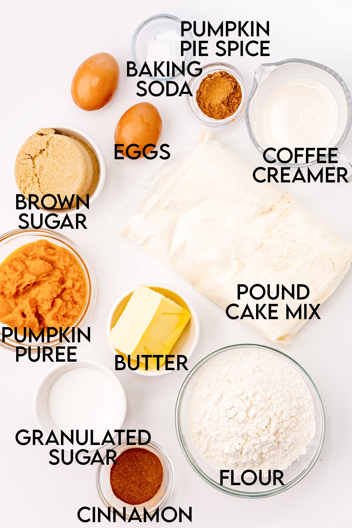 The ingredients needed to make pumpkin coffee cake. They are labeled with text over them.