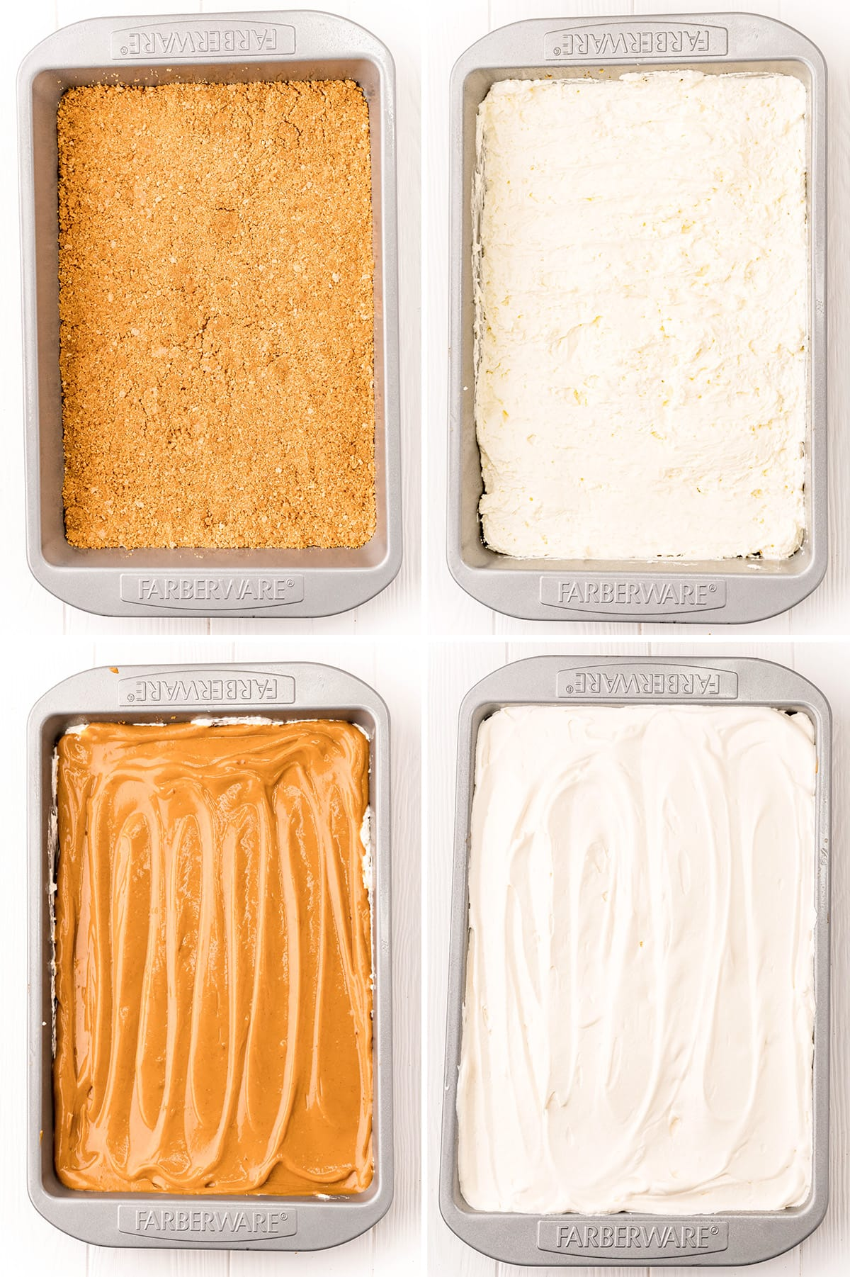 A collage of 4 photos showing the layers of pumpkin delight dessert.