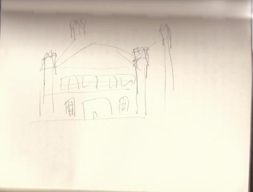 A very rough exterior sketch of Greythorne Manor.