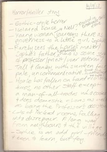 The first page of my original notes on Greythorne (I've omitted the second page because of spoilers).