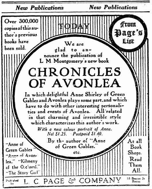 Ad for Chronicles of Avonlea, by L.M. Montgomery, The Boston Herald, 8 June 1912.