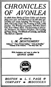Title page of 1912 edition of Chronicles of Avonlea