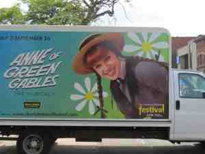 Truck featuring Anne of Green Gables: The Musical, in downtown Charlottetown, Prince Edward Island