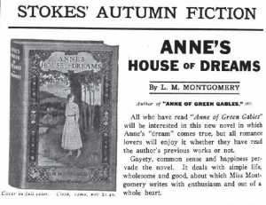 Ad for Anne's House of Dreams, The Publisher's Weekly, 22 September 1917.