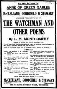 Ad for The Watchman and Other Poems, The Globe (Toronto, ON), 22 November 1916, 2.