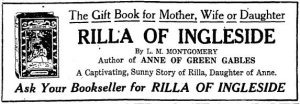 Ad for Rilla of Ingleside, The Toronto Daily Star, 20 December 1921.